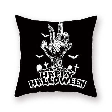 Photo Halloween 2019 (Fancyleo 1 PCS 2019 New Halloween Decorative Throw Pillow Covers with Scary Skull Black Cat and Witch Design 18x18 Inches for)