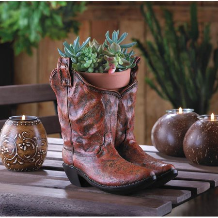 Decorative Cowboy Boots Planter or Potted Plants and Flower Pot Holder for Front Yard Decorations or Country Western Garden Decor by Home 'n Gifts