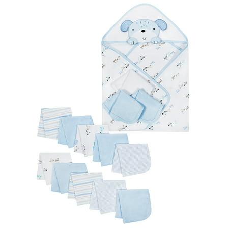 Hooded Towels & Washcloths Bath Set, 14-piece (Baby Boys) (Buy Latex Hood)