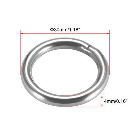 Welded O Ring, 30 x 4mm Strapping Round Rings Stainless Steel 2pcs - image 2 of 3