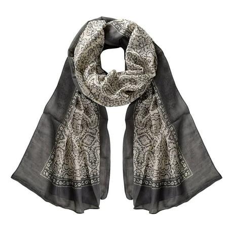 Peach Couture  Lightweight Damask Paisley Sheer Grey Scarf - Medium