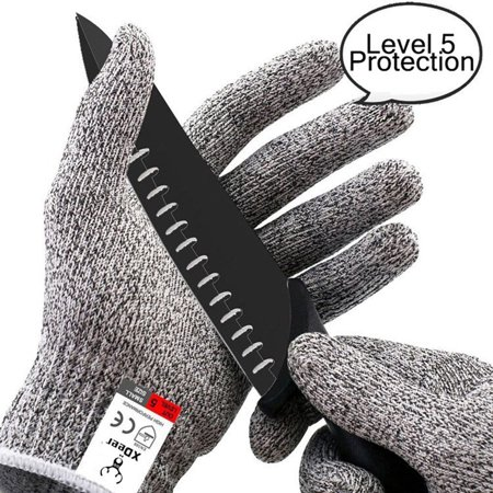 XDEER Cut Resistant Gloves ;Level 5 Protection, Food Grade,EN388 Certified, Safty Gloves for Hand protection and yard-work, Kitchen Glove for Cutting and slicing,1 pair(Extra Large) ()
