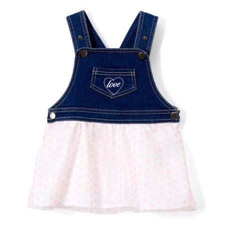 f93b14d07cc18 DDI 2330507 Baby Girls Pink Denim Dress - Polka Dots, Pink ...