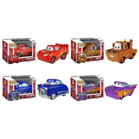 Doc Hudson Accessories - [ Lightning Mcqueen - Mater - Doc Hudson - Ramone ] Cars Funko Pop Vinyl Figure (Deluxe Collector Set of 4) Character Vehicle Toy Disney Pixar Cartoon Animated Movie Merchandise Collectible
