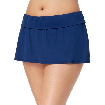 Bleu by Rod Beattie Womens Plus Size Tummy-Control Swim Skirt 20W Navy Blue