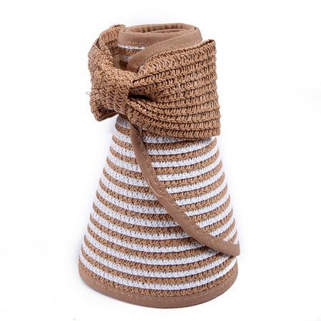 8785125430bc4 HDE - HDE Women UPF 50+ Packable Crushable Roll Up Wide Brim Sun Visor  Beach Straw Hat (Khaki White) - Walmart.com
