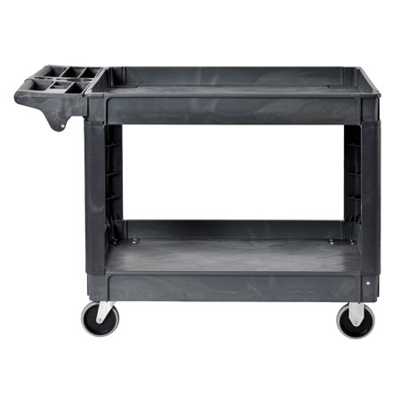 Box Utility Cart - Sandusky Heavy-Duty 2-Shelf Utility Cart with 5