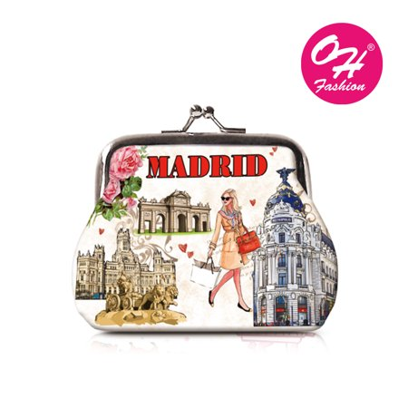 OH Fashion Women's Wallet Coin Purse Elegant Madrid Mini Wallet Metal Frame Double Clasp Zipper Handbag Travel Bag Cities Design Small Size