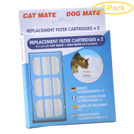 Cat Mate Replacement Filter Cartridge for Pet Fountain 2 Count - Pack of 2 Cat Mate Electromagnetic Cat