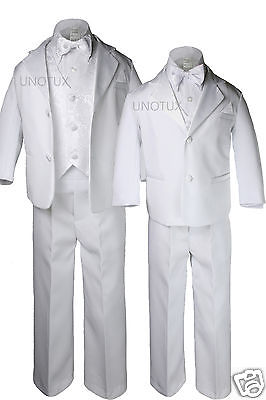 New Boy Toddler Baptism Christening Wedding Formal White 5pc Tuxedo Suit sz S-4T