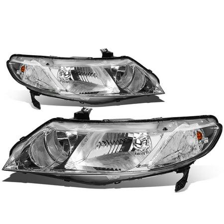 For 06-08 Honda Civic Sedan 4-Door Pair of Chrome Housing Clear Lens HeadLights 07 ()