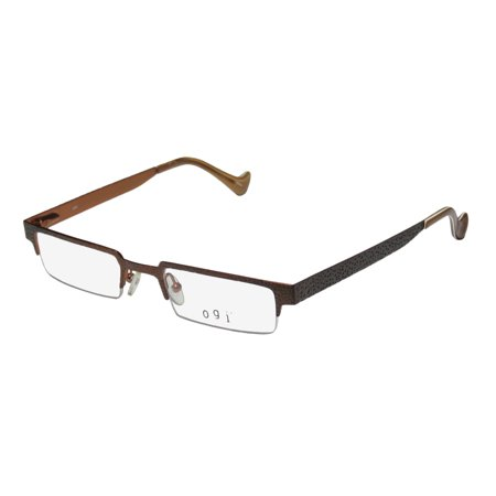 Gradient Lens Matte Black Frame (New Ogi 2213 Mens/Womens Designer Half-Rim Gradient Brown Simple & Elegant Stunning Genuine Frame Demo Lenses 48-20-145 Spring Hinges Eyeglasses/Eye Glasses )