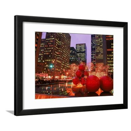 New York City at Christmas at Night, NY Framed Print Wall Art By Rudi Von Briel ()