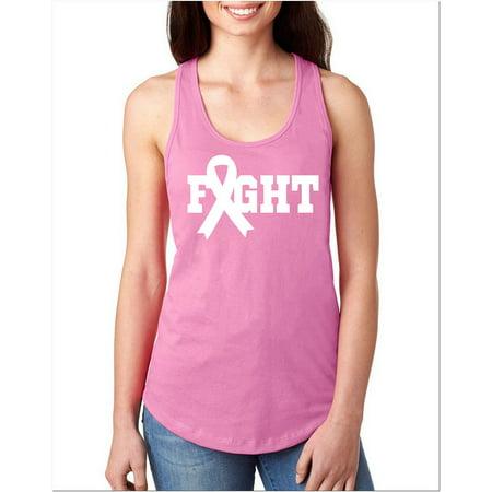 Junior's Breast Cancer Ribbon Fight V605 Pink Racerback Tank Top Medium Pink