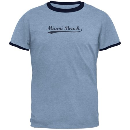 Cities Swoosh Vintage Miami Beach Heather Blue Men's Ringer T-Shirt