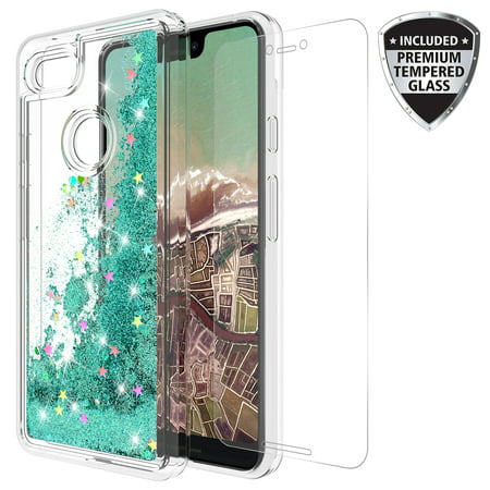 Google Pixel 3 Case With Tempered Glass Screen Protector, KAESAR Quicksand Glitter Sparkly Bling Liquid Shiny Clear Soft TPU Bumper Protective Cover for Google Pixel3 (Teal)