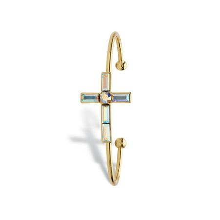 Aurora Borealis Crystal Cross Cuff Bangle Bracelet in Gold Tone MADE WITH SWAROVSKI ELEMENTS -