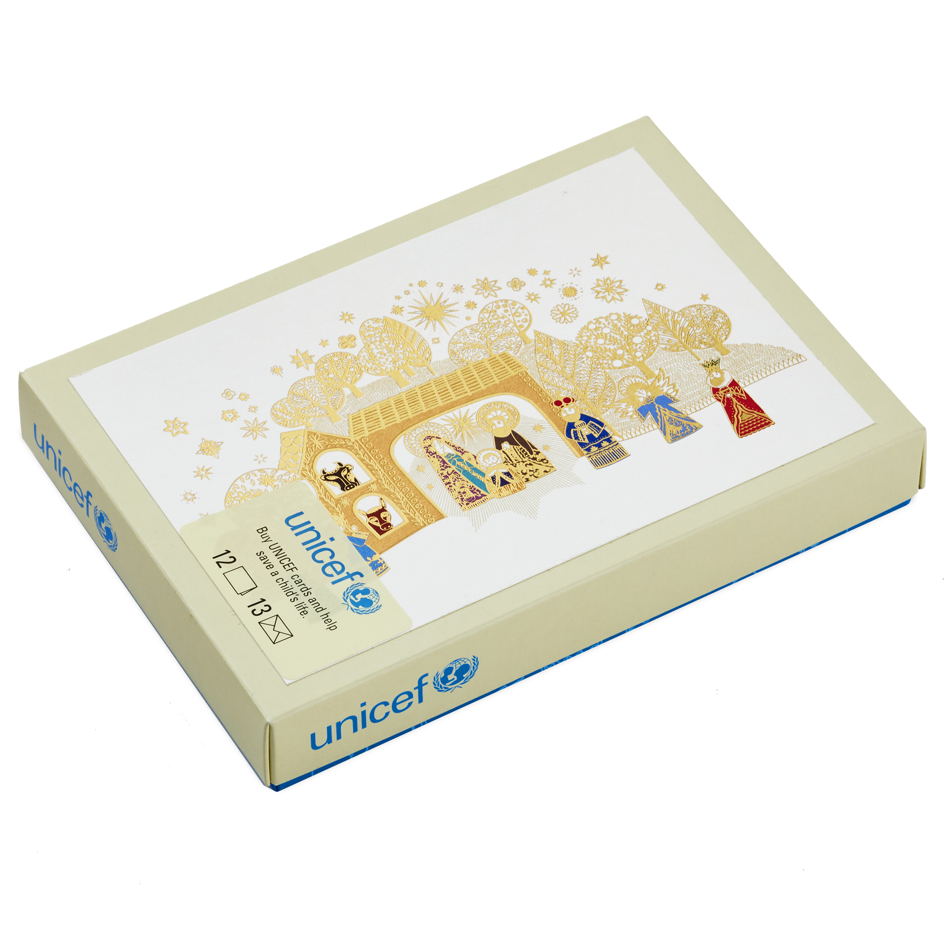 (12 Cards and 13 Envelopes) Hallmark UNICEF Christmas Boxed Cards, Gold Foil Nativity