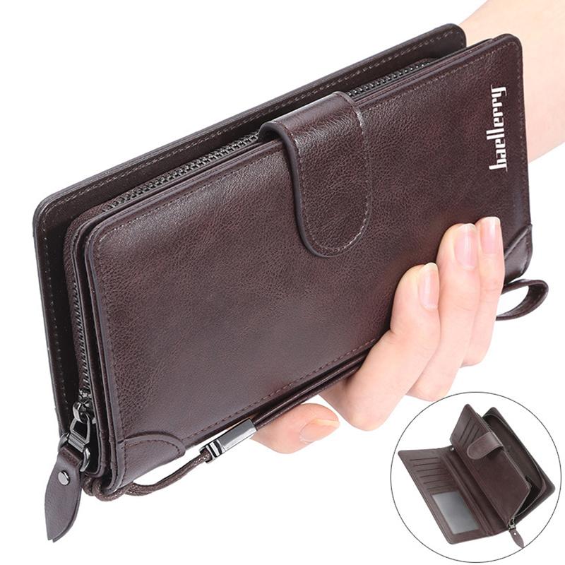 Men Business Leather Clutch Bag Large Capacity Card Cash Holder Zipper Wallet
