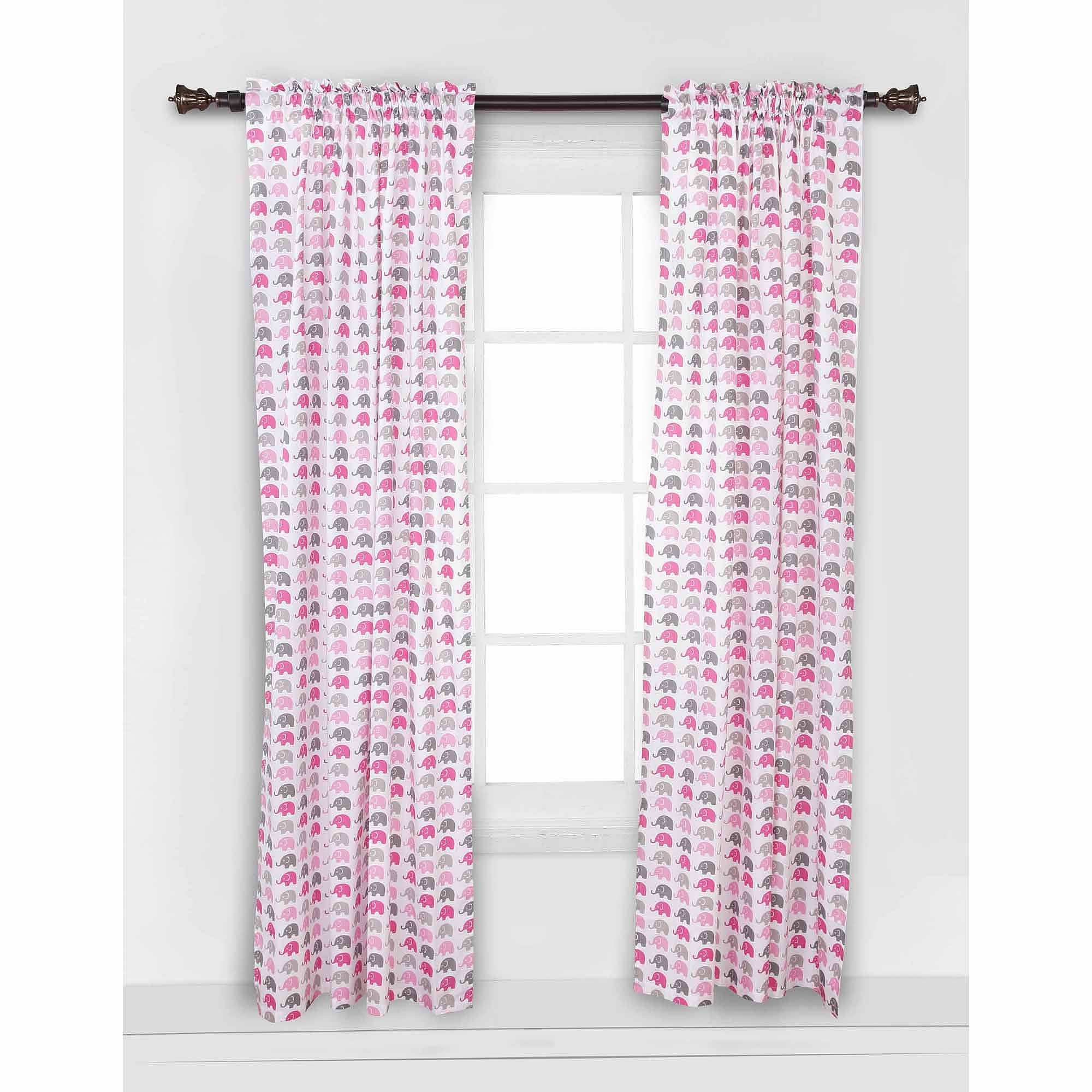 Bacati - Mini Elephants Curtain Panel 42 x 84 inches 100% Cotton Percale Fabrics, Pink/Gray