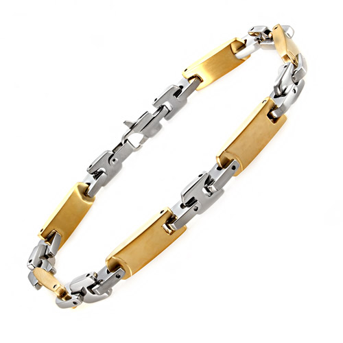 Men's Yellow and White Stainless Steel Flat-Link Bracelet, 8.5""