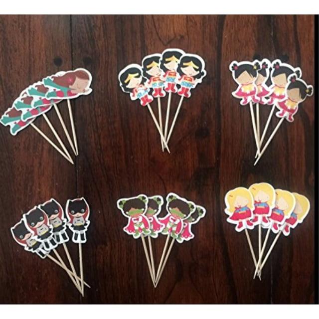 WONDER WOMAN SUPERHERO GIRLS CUPCAKE TOPPERS BIRTHDAY PARTY SUPPLIES SET OF 24