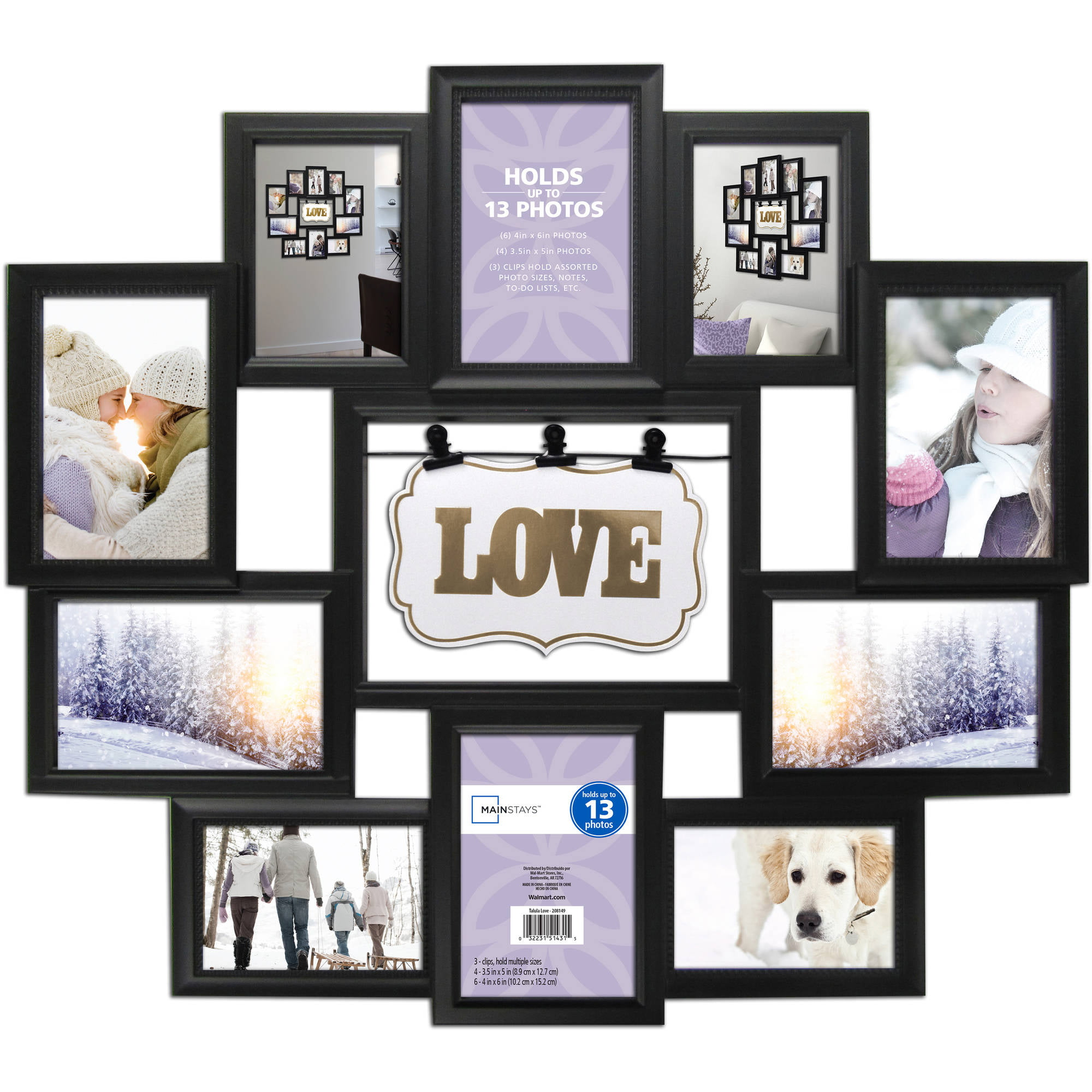 Mainstays 11-Opening Collage Frame, Black, Love - Walmart.com