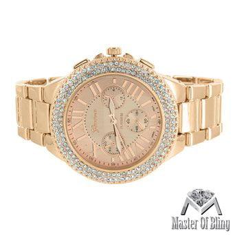 Roman Hour Dial Watch Rose Gold Finish Geneva Unisex Lab Diamond Bezel Platinum by