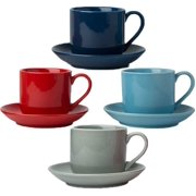 4oz. Espresso Cups Set of 4 with Matching Saucers - Premium Porcelain, 8 Piece Gift Box Demitasse Set - Red, Blue & Grey  Italian Caff Mugs, Turkish Coffee Cup  Lungo Shots, Dopio Double Shot