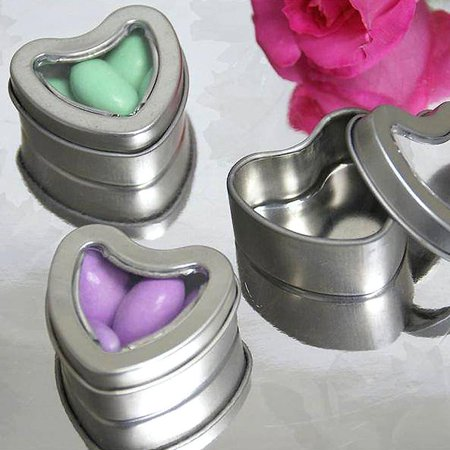 BalsaCircle 10 Silver Heart Mint Tin Wedding Party Favor Boxes - Wedding Party Candy Gifts Decorations - Wedding Round Gift Box