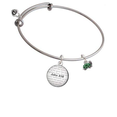 Mini Green Turtle   Side   Bible Verse John 3 16 Glass Dome Bangle Bracelet