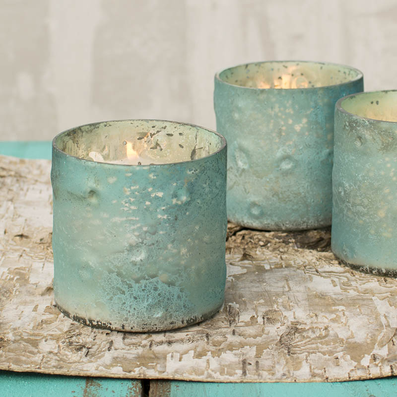 Table Decor Mercury Glass Votive Candle Holder 3 X 3 In Turquoise