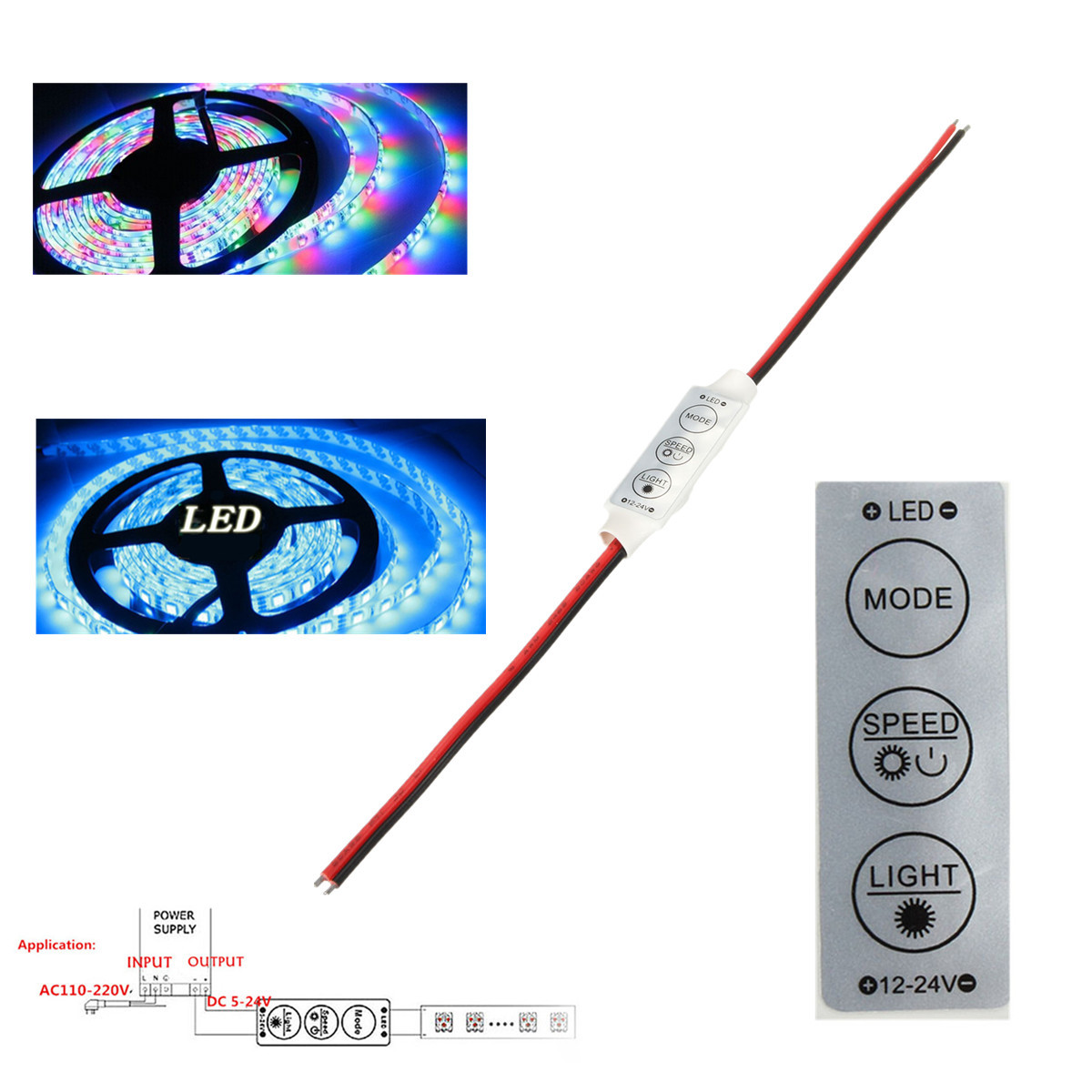 Inline LED Controller for Single-Color Strips 12V Low-Power On//Off Dimmer Switch