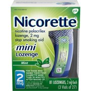 Nicorette Mini Nicotine Lozenges to Stop Smoking, 2mg, Mint Flavor - 81 Count