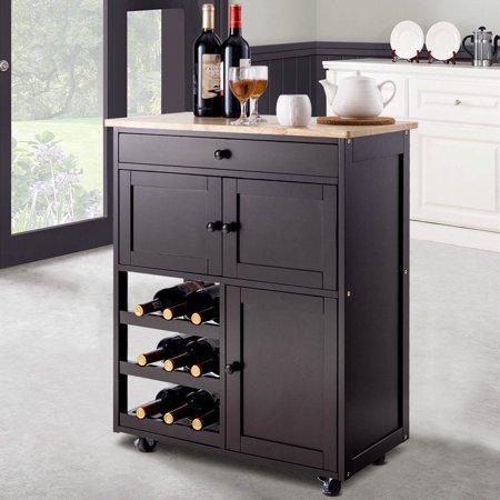 Gymax Modern Rolling Kitchen Cart Trolley Island Storage Cabinet W Drawer Wine Rack