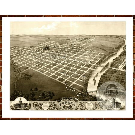 Ted's Vintage Art Map of Topeka, KS 1869; Old Kansas Decor 8