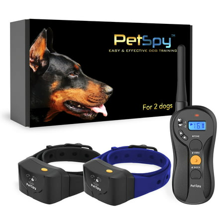 PetSpy P620B Dog Training Shock Collar for 2 Dogs with Vibration, Electric Shock, Beep; Fully Waterproof Remote Trainer with Two E-Collars, 10-120 lbs ()