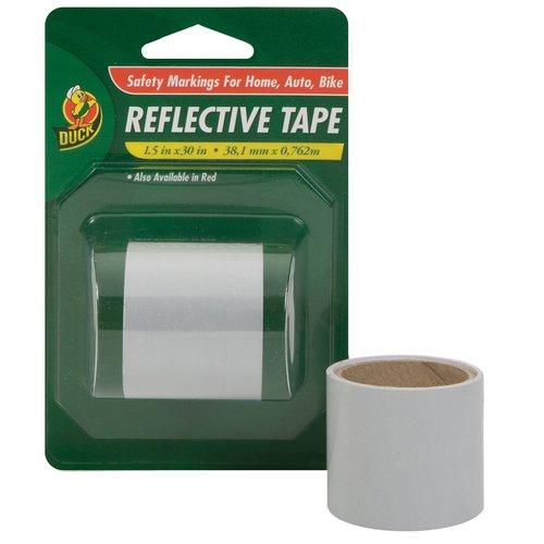 "Duck Brand White Reflective Tape, 1.5"" x 30"""