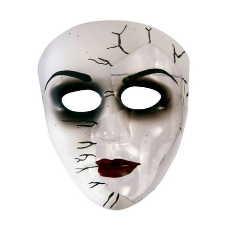 Broken Doll Face Transparent Mask Halloween Costume Accessory