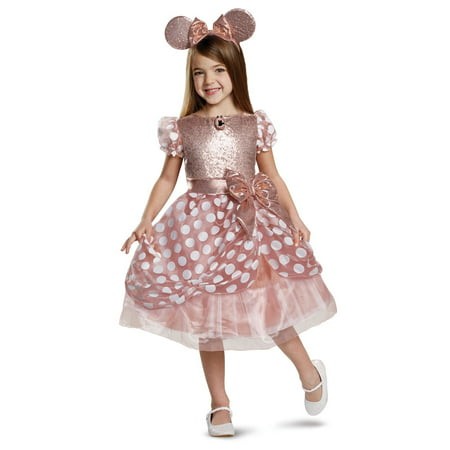 Toddler Biker Girl Halloween Costume (Girl's Rose Gold Minnie Mouse Deluxe Toddler Halloween)