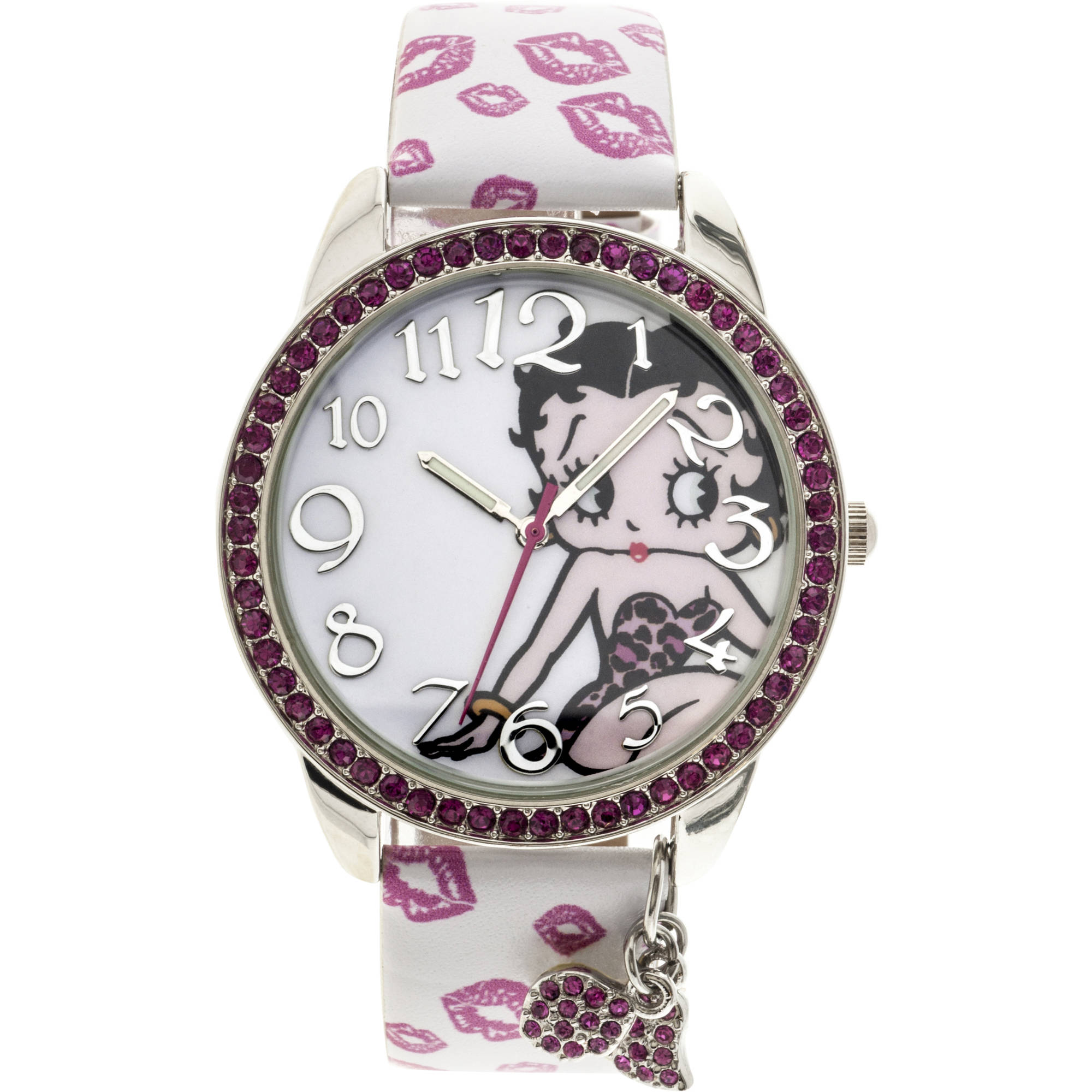 Betty Boop Pink Stone Case with Dangling Charms Character-Printed Dial Analog Watch, White Strap with Pink Lips