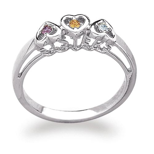 Sterling Silver Personalized Sisters Birthstone Heart Ring