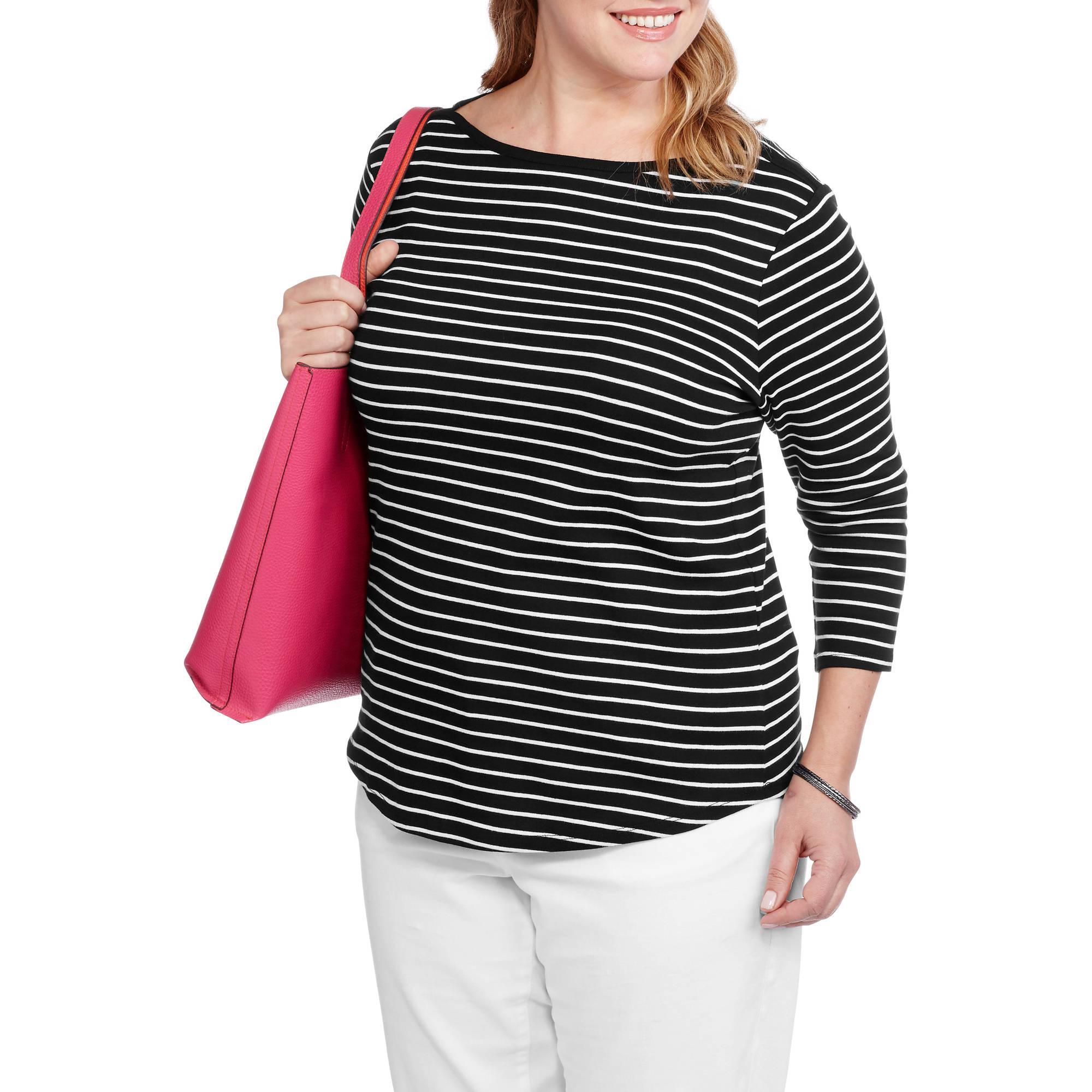 Faded Glory Women's Plus-Size Boatneck Stripe Tee