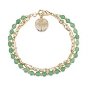 """14Kt Gold Flash-Plated Genuine Green Aventurine and Mother of Pearl Inlay Triple Strand Link Bracelet with Family Tree Charm, 7.5"""" Length"""