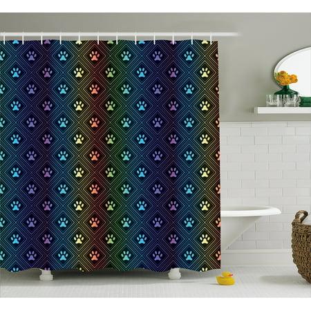 Dog Lover Shower Curtain Paw Print Pattern With Diamond Shaped Rhombus Shapes Design Geometric Arrangement