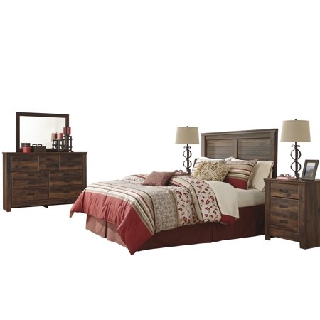 Ashley Furniture Quinden 5 Pc Queen Panel Headboard Bedroom Set W 2 Nightstand Dark Brown Walmart Com