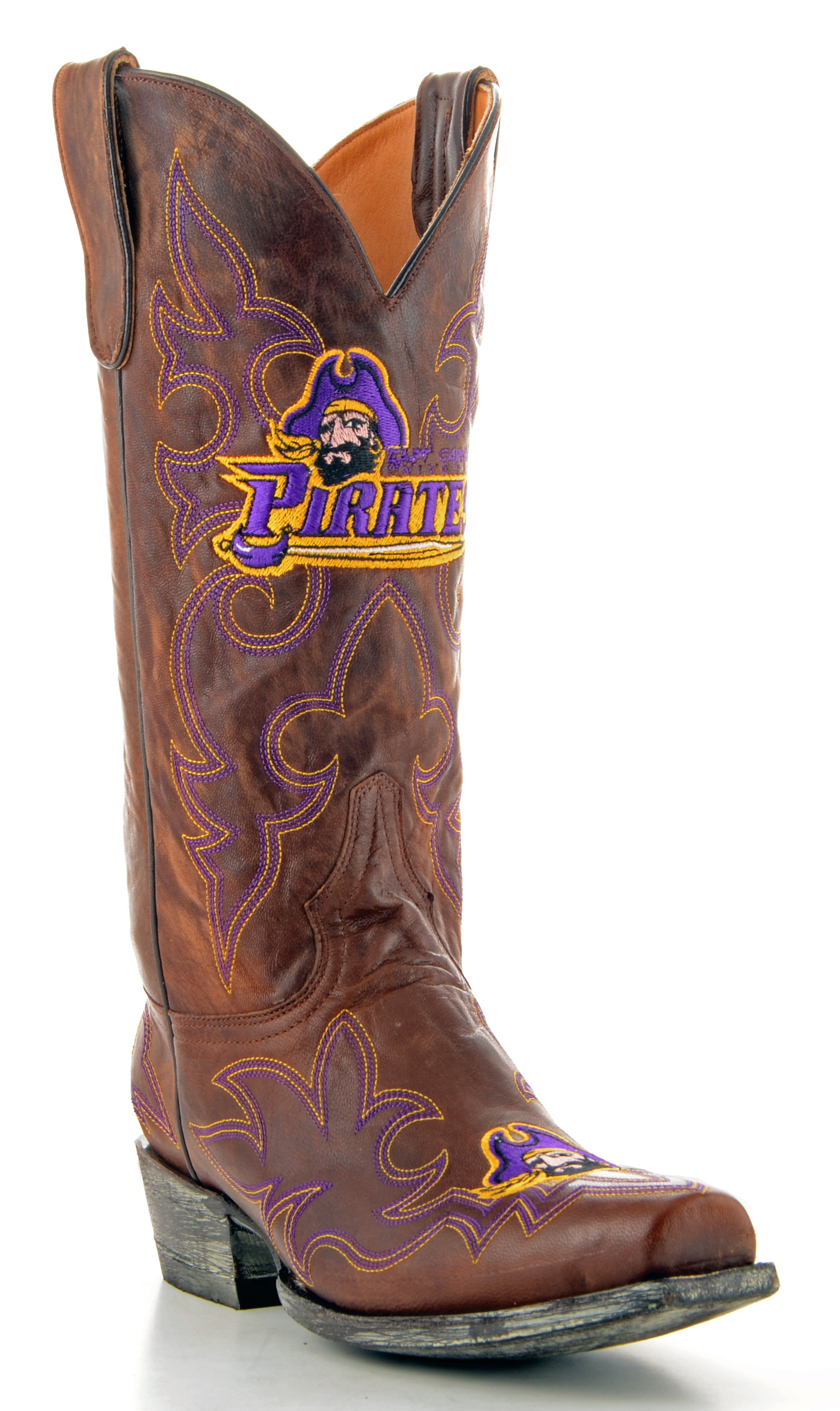 Gameday Boots Mens Brass Leather East Carolina Cowboy Boots (Size 7.5) New by GameDay Boots