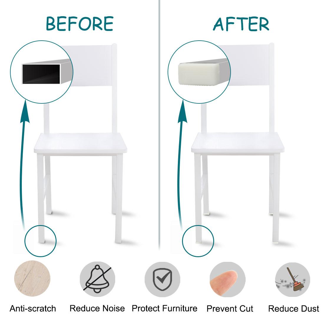 20 x 10mm Rectangle Tube Inserts Feet Cap Furniture Legs Floor Protector 20pcs - image 5 of 7