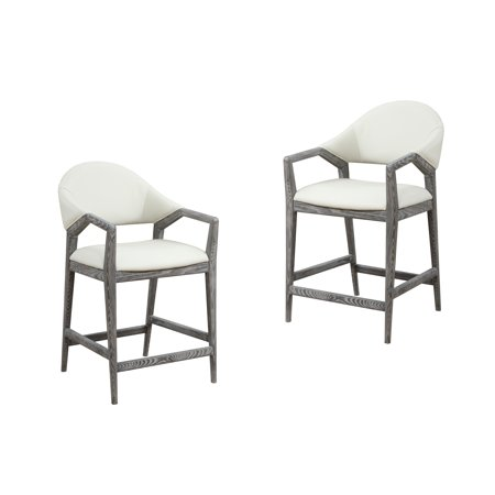 Awesome Emerald Home Carrera Slate Gray And Platinum White 24 Bar Stool With Faux Leather Upholstery And Curved Wood Frame Bralicious Painted Fabric Chair Ideas Braliciousco