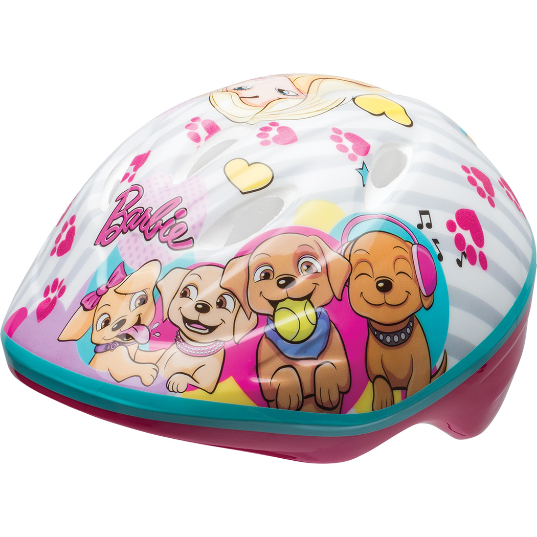 Bell Sports Barbie Puppies Toddler Bike Helmet, White/Pink
